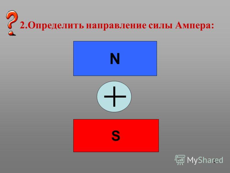 3 2.Определить направление силы Ампера: N S