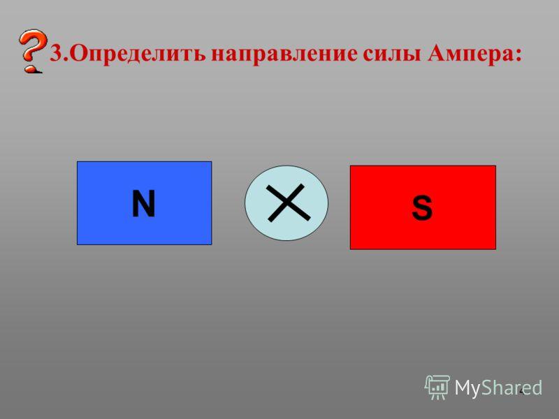 4 3.Определить направление силы Ампера: N S