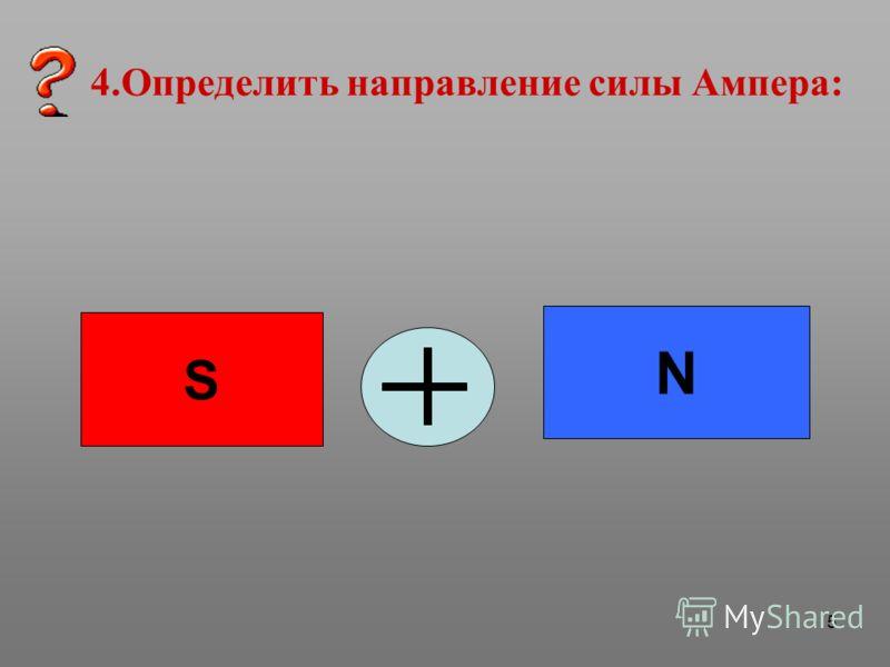 5 4.Определить направление силы Ампера: N S