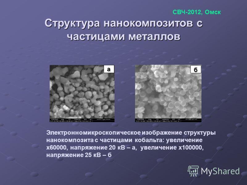 Структура нанокомпозитов с частицами металлов (a) (b) Электронномикроскопическое изображение структуры нанокомпозита с частицами кобальта: увеличение х60000, напряжение 20 кВ – а, увеличение х100000, напряжение 25 кВ – б а б