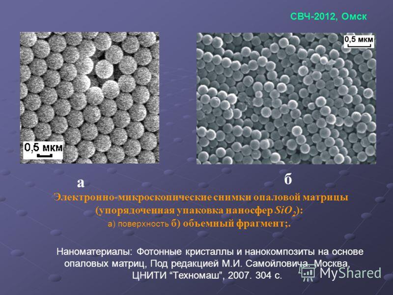 а б Электронно-микроскопические снимки опаловой матрицы (упорядоченная упаковка наносфер SiO 2 ): а) поверхность б) объемный фрагмент;. Наноматериалы: Фотонные кристаллы и нанокомпозиты на основе опаловых матриц, Под редакцией М.И. Самойловича. Москв