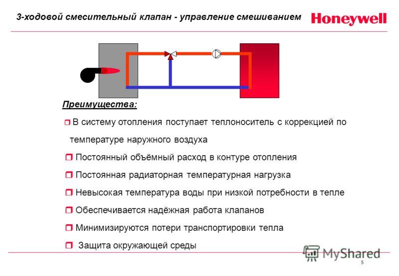 5 Преимущества: В систему отопления поступает теплоноситель с коррекцией по температуре наружного воздуха Постоянный объёмный расход в контуре отопления Постоянная радиаторная температурная нагрузка Невысокая температура воды при низкой потребности в