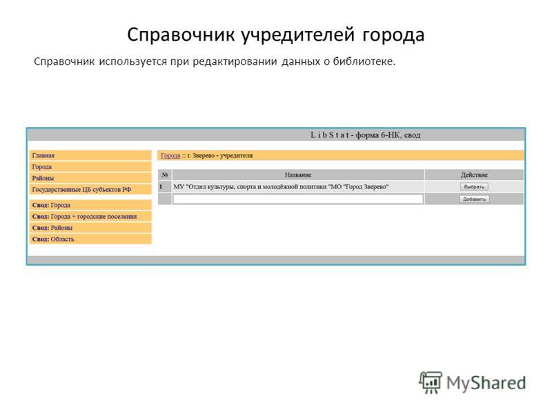 Справочник учредителей города Справочник используется при редактировании данных о библиотеке.