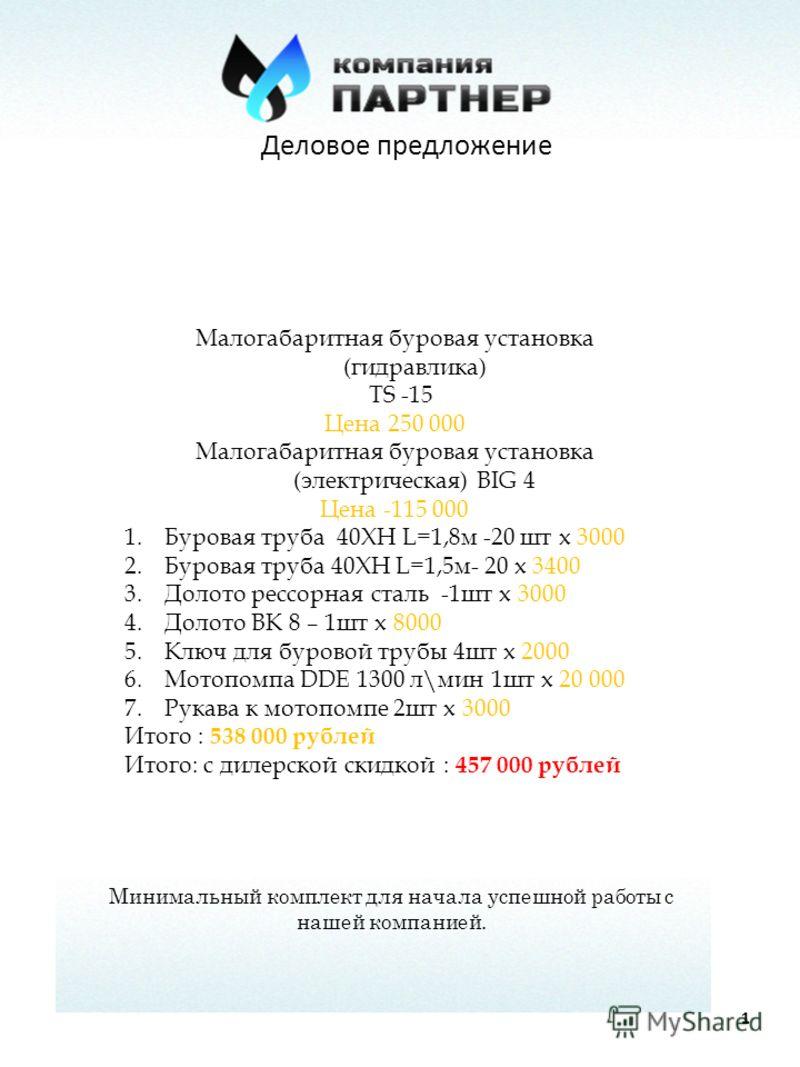 Деловое предложение 1 Малогабаритная буровая установка (гидравлика) TS -15 Цена 250 000 Малогабаритная буровая установка (электрическая) BIG 4 Цена -115 000 1.Буровая труба 40ХН L=1,8м -20 шт х 3000 2.Буровая труба 40ХН L=1,5м- 20 х 3400 3.Долото рес