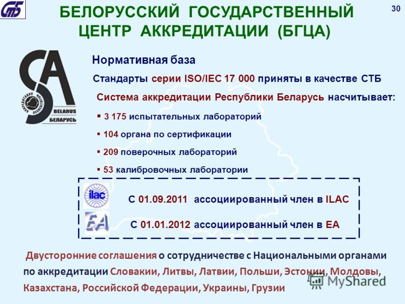 30 БЕЛОРУССКИЙ ГОСУДАРСТВЕННЫЙ ЦЕНТР АККРЕДИТАЦИИ (БГЦА) Нормативная база Стандарты серии ISO/IEC 17 000 приняты в качестве СТБ Система аккредитации Республики Беларусь насчитывает: 3 175 испытательных лабораторий 104 органа по сертификации 209 повер