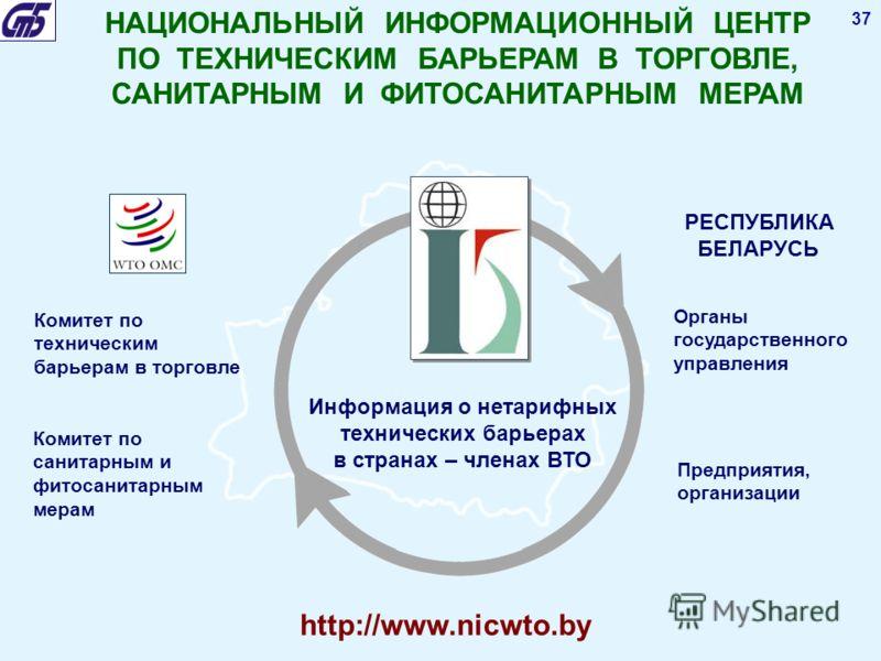 37 НАЦИОНАЛЬНЫЙ ИНФОРМАЦИОННЫЙ ЦЕНТР ПО ТЕХНИЧЕСКИМ БАРЬЕРАМ В ТОРГОВЛЕ, САНИТАРНЫМ И ФИТОСАНИТАРНЫМ МЕРАМ Комитет по техническим барьерам в торговле Комитет по санитарным и фитосанитарным мерам Информация о нетарифных технических барьерах в странах