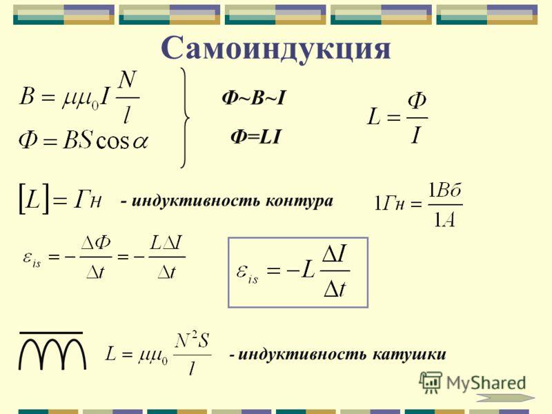 Самоиндукция Ф~B~I Ф=LI - индуктивность контура - индуктивность катушки