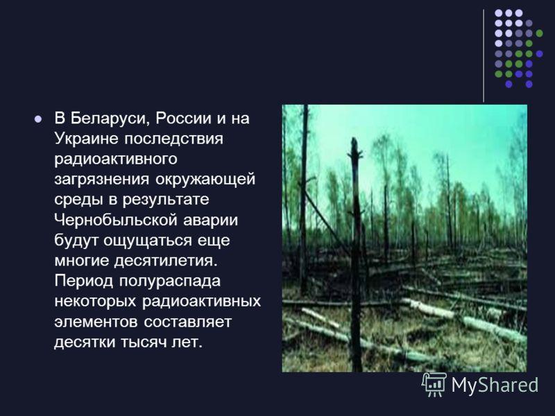 В Беларуси, России и на Украине последствия радиоактивного загрязнения окружающей среды в результате Чернобыльской аварии будут ощущаться еще многие десятилетия. Период полураспада некоторых радиоактивных элементов составляет десятки тысяч лет.