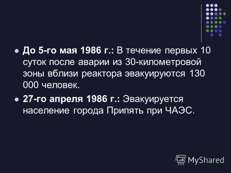До 5-го мая 1986 г.: В течение первых 10 суток после аварии из 30-километровой зоны вблизи реактора эвакуируются 130 000 человек. 27-го апреля 1986 г.: Эвакуируется население города Припять при ЧАЭС.