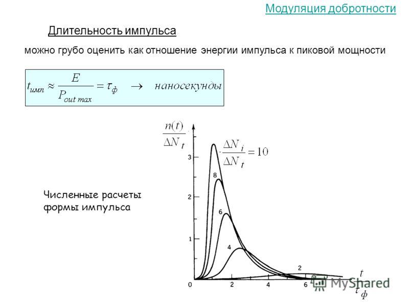 Модуляция добротности Длительность импульса можно грубо оценить как отношение энергии импульса к пиковой мощности Численные расчеты формы импульса
