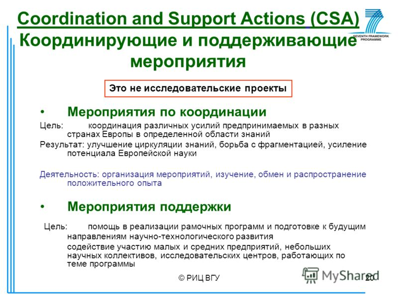 © РИЦ ВГУ20 Coordination and Support Actions (CSA) Координирующие и поддерживающие мероприятия Мероприятия по координации Цель: координация различных усилий предпринимаемых в разных странах Европы в определенной области знаний Результат: улучшение ци