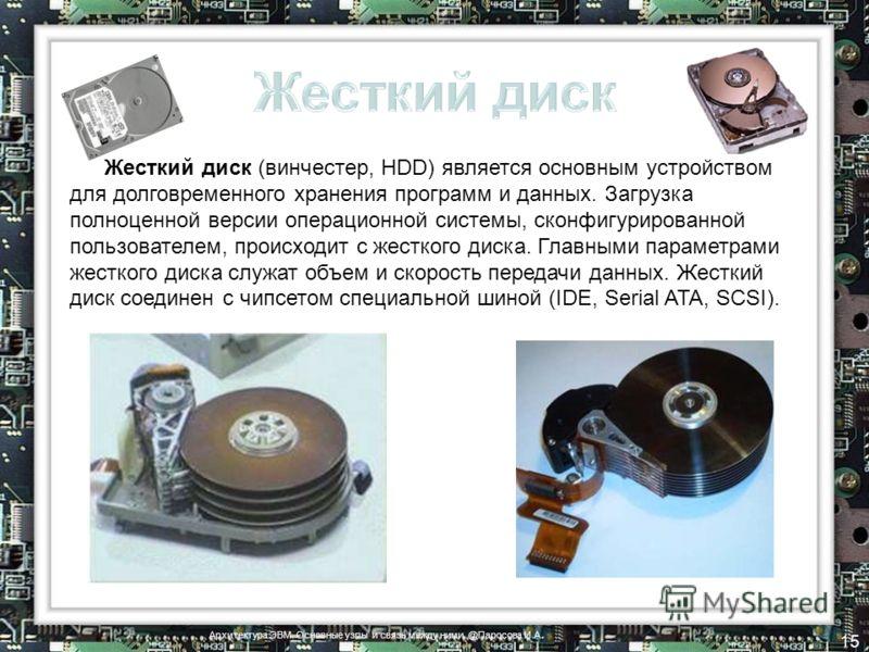 Жесткий диск (винчестер, HDD) является основным устройством для долговременного хранения программ и данных. Загрузка полноценной версии операционной системы, сконфигурированной пользователем, происходит с жесткого диска. Главными параметрами жесткого