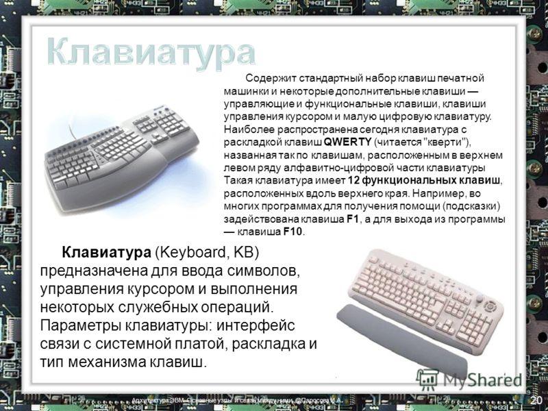 Клавиатура (Keyboard, KB) предназначена для ввода символов, управления курсором и выполнения некоторых служебных операций. Параметры клавиатуры: интерфейс связи с системной платой, раскладка и тип механизма клавиш. Содержит стандартный набор клавиш п