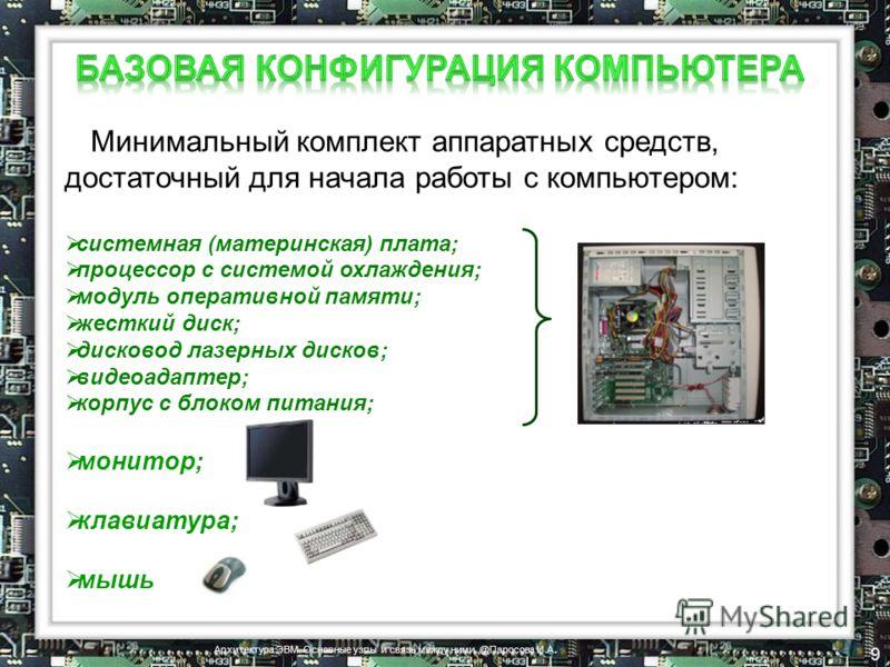 Минимальный комплект аппаратных средств, достаточный для начала работы с компьютером: системная (материнская) плата; процессор с системой охлаждения; модуль оперативной памяти; жесткий диск; дисковод лазерных дисков; видеоадаптер; корпус с блоком пит