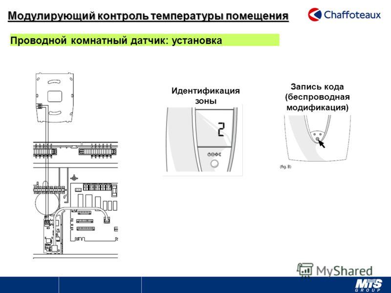 Идентификация зоны Запись кода (беспроводная модификация) Проводной комнатный датчик: установка Модулирующий контроль температуры помещения