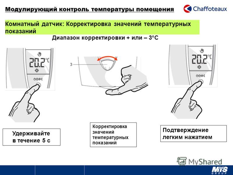 Комнатный датчик: Корректировка значений температурных показаний Удерживайте в течение 5 с Корректировка значений температурных показаний Подтверждение легким нажатием Диапазон корректировки + или – 3°C