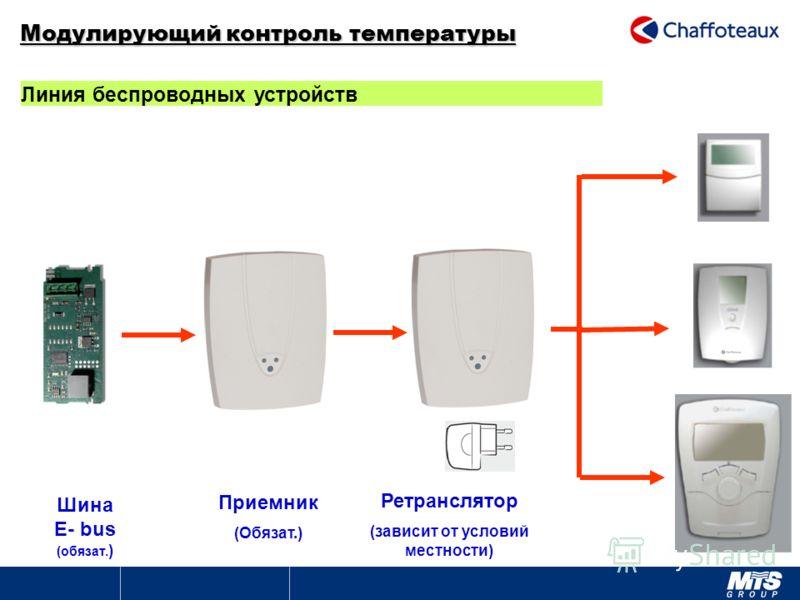 Модулирующий контроль температуры Линия беспроводных устройств Шина E- bus (обязат. ) Приемник (Обязат.) Ретранслятор (зависит от условий местности)