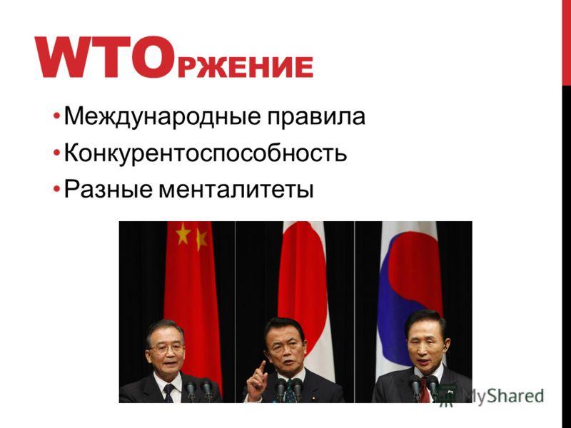 WTO РЖЕНИЕ Международные правила Конкурентоспособность Разные менталитеты