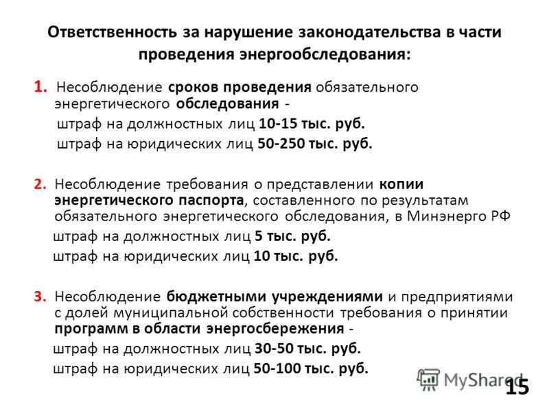 1. Несоблюдение сроков проведения обязательного энергетического обследования - штраф на должностных лиц 10-15 тыс. руб. штраф на юридических лиц 50-250 тыс. руб. 2. Несоблюдение требования о представлении копии энергетического паспорта, составленного