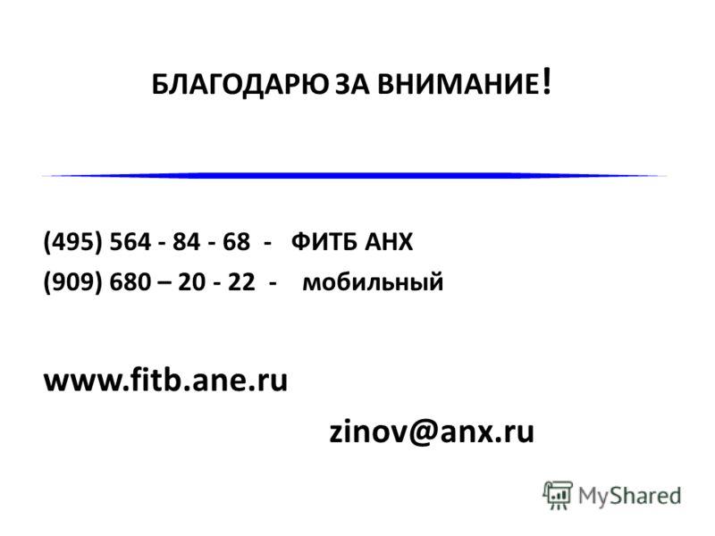БЛАГОДАРЮ ЗА ВНИМАНИЕ ! (495) 564 - 84 - 68 - ФИТБ АНХ (909) 680 – 20 - 22 - мобильный www.fitb.ane.ru zinov@anx.ru