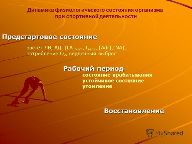Динамика физиологического состояния организма при спортивной деятельности Рабочий период Восстановление Предстартовое состояние состояние врабатывания устойчивое состояние утомление растёт ЛВ, АД, [LA] b+m, t тела, [Adr],[NA], потребление О 2, сердеч