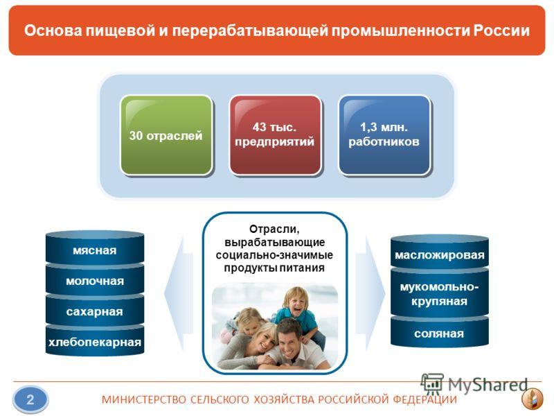 МИНИСТЕРСТВО СЕЛЬСКОГО ХОЗЯЙСТВА РОССИЙСКОЙ ФЕДЕРАЦИИ 2 Основа пищевой и перерабатывающей промышленности России 30 отраслей 43 тыс. предприятий 1,3 млн. работников Отрасли, вырабатывающие социально-значимые продукты питания хлебопекарная сахарная мол