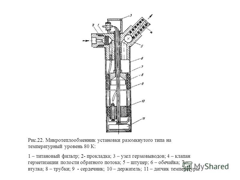 Рис.22. Микротеплообменник установки разомкнутого типа на температурный уровень 80 К: 1 – титановый фильтр; 2- прокладка; 3 – узел гермовыводов; 4 – клапан герметизации полости обратного потока; 5 – штуцер; 6 – обечайка; 7 – втулка; 8 – трубки; 9 - с