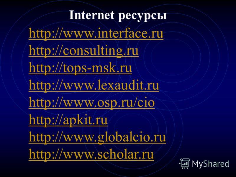 Internet ресурсы http://www.interface.ru http://consulting.ru http://tops-msk.ru http://www.lexaudit.ru http://www.osp.ru/cio http://apkit.ru http://www.globalcio.ru http://www.scholar.ru