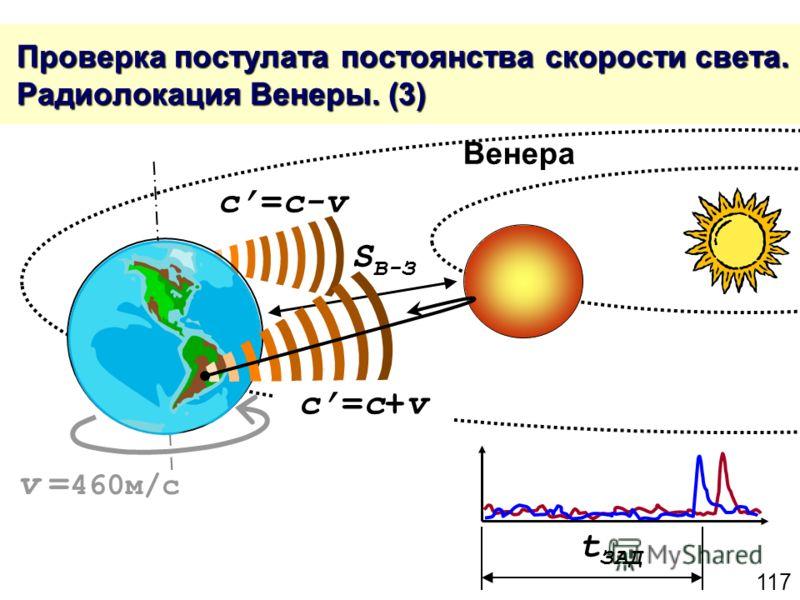 117 Проверка постулата постоянства скорости света. Радиолокация Венеры. (3) Проверка постулата постоянства скорости света. Радиолокация Венеры. (3) c=c+vc=c+v c=c-v t ЗАД S В-З v = 460м/с Венера