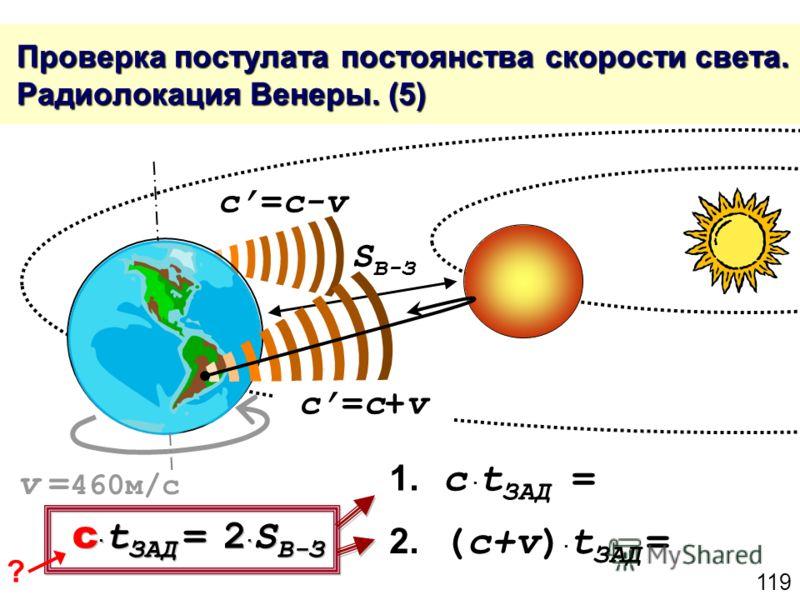 119 Проверка постулата постоянства скорости света. Радиолокация Венеры. (5) Проверка постулата постоянства скорости света. Радиолокация Венеры. (5) c=c+vc=c+v c=c-v S В-З 1. c t ЗАД = c t ЗАД = 2 S В-З 2. (c+v) t ЗАД = v = 460м/с ?