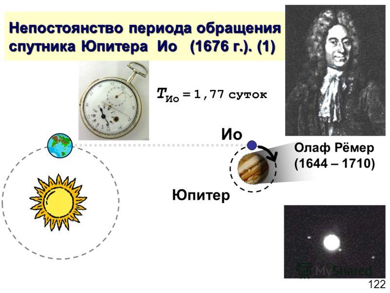 122 Непостоянство периода обращения спутника Юпитера Ио (1676 г.). (1) Олаф Рёмер (1644 – 1710) Юпитер Ио T Ио = 1,77 суток
