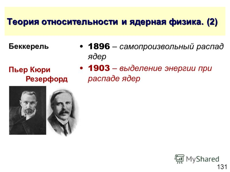 131 Теория относительности и ядерная физика. (2) 1896 – самопроизвольный распад ядер 1903 – выделение энергии при распаде ядер Пьер Кюри Резерфорд Беккерель