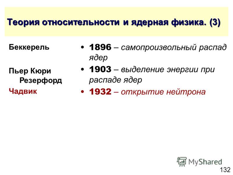 132 Теория относительности и ядерная физика. (3) 1896 – самопроизвольный распад ядер 1903 – выделение энергии при распаде ядер 1932 – открытие нейтрона Чадвик Беккерель Пьер Кюри Резерфорд