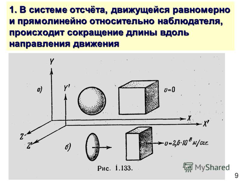 9 1. В системе отсчёта, движущейся равномерно и прямолинейно относительно наблюдателя, происходит сокращение длины вдоль направления движения