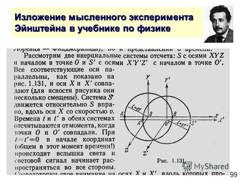 99 Изложение мысленного эксперимента Эйнштейна в учебнике по физике