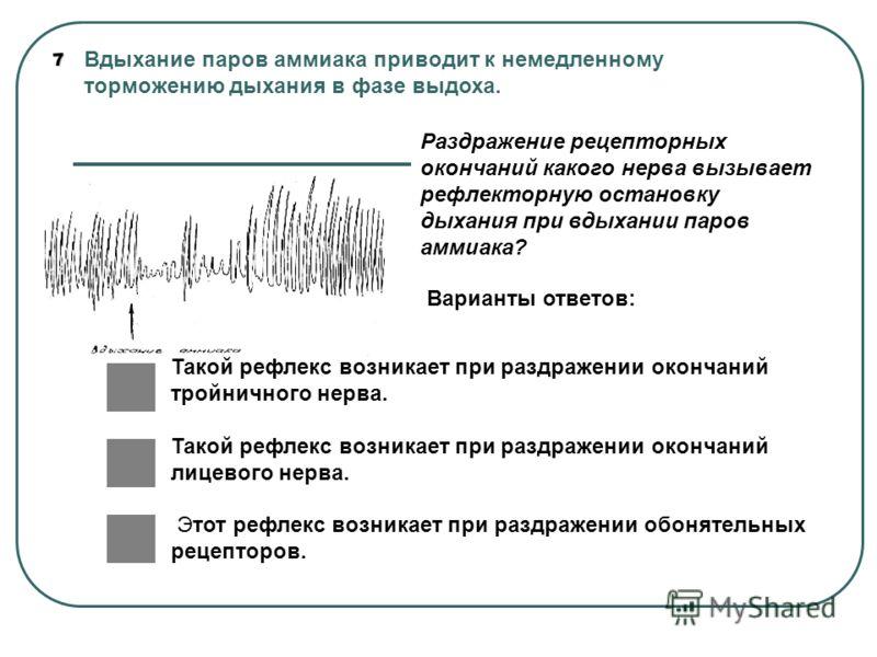 7 Вдыхание паров аммиака приводит к немедленному торможению дыхания в фазе выдоха. Раздражение рецепторных окончаний какого нерва вызывает рефлекторную остановку дыхания при вдыхании паров аммиака? Варианты ответов: Такой рефлекс возникает при раздра