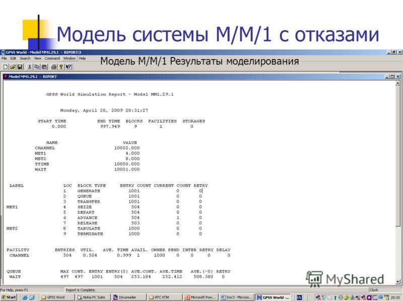 6 Модель системы М/М/1 с отказами Модель М/М/1 Результаты моделирования