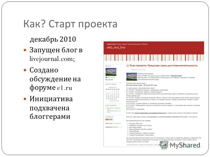 Как ? Старт проекта декабрь 2010 Запущен блог в livejournal.com; Создано обсуждение на форуме e1. ru Инициатива подхвачена блоггерами