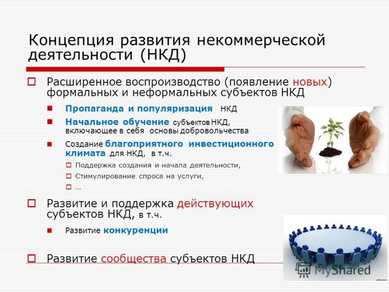 Концепция развития некоммерческой деятельности (НКД) Расширенное воспроизводство (появление новых) формальных и неформальных субъектов НКД Пропаганда и популяризация НКД Начальное обучение субъектов НКД, включающее в себя основы добровольчества Созда