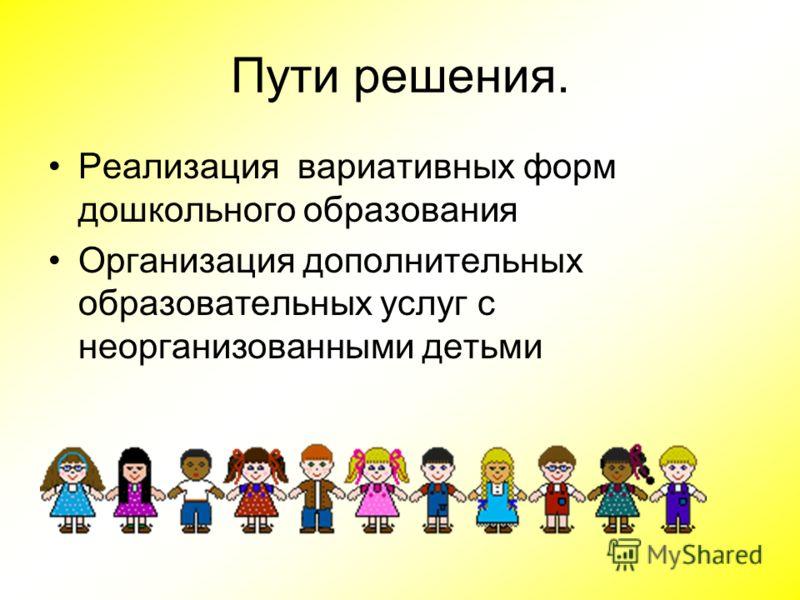 Пути решения. Реализация вариативных форм дошкольного образования Организация дополнительных образовательных услуг с неорганизованными детьми
