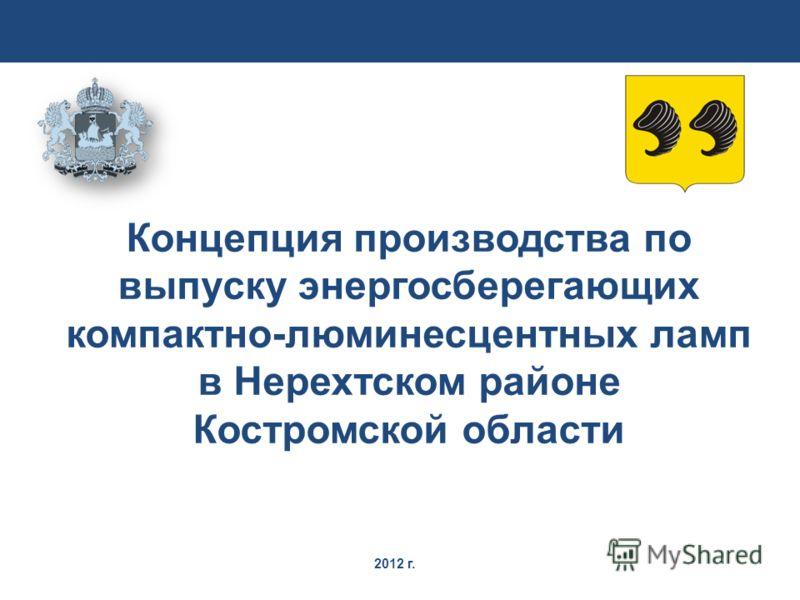 2012 г. Концепция производства по выпуску энергосберегающих компактно-люминесцентных ламп в Нерехтском районе Костромской области
