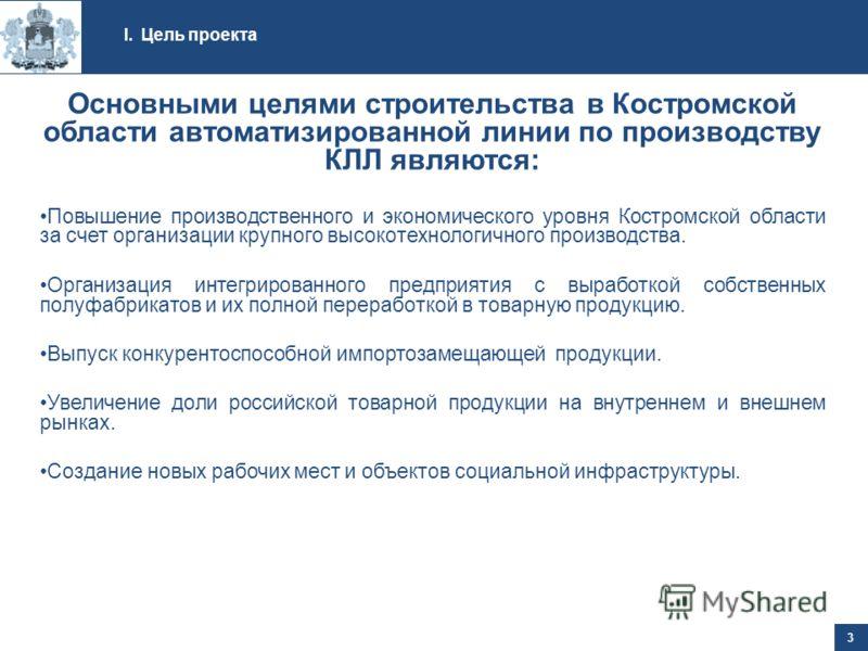 I.Цель проекта 3 Основными целями строительства в Костромской области автоматизированной линии по производству КЛЛ являются: Повышение производственного и экономического уровня Костромской области за счет организации крупного высокотехнологичного про
