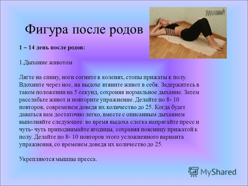 Фигура после родов 1 – 14 день после родов: 1.Дыхание животом Лягте на спину, ноги согните в коленях, стопы прижаты к полу. Вдохните через нос, на выдохе втяните живот в себя. Задержитесь в таком положении на 5 секунд, сохроняя нормальное дыхание. За