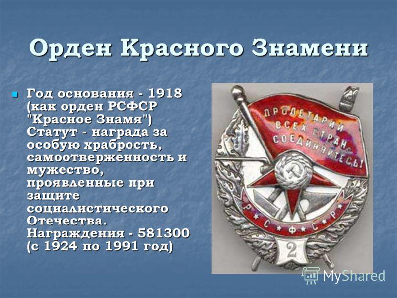 Орден Красного Знамени Год основания - 1918 (как орден РСФСР
