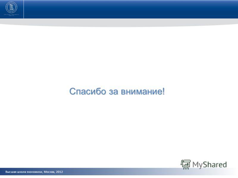 Высшая школа экономики, Москва, 2012 Спасибо за внимание!
