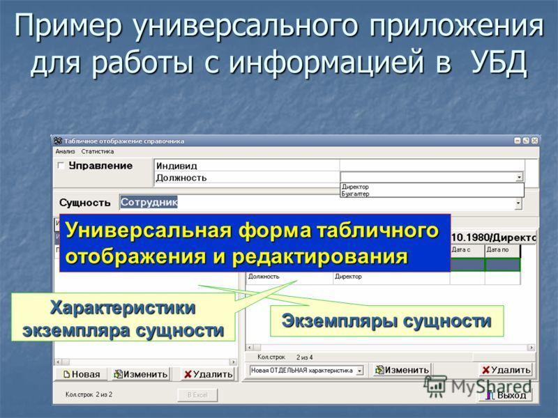 Пример универсального приложения для работы с информацией в УБД Универсальная форма табличного отображения и редактирования Экземпляры сущности Характеристики экземпляра сущности