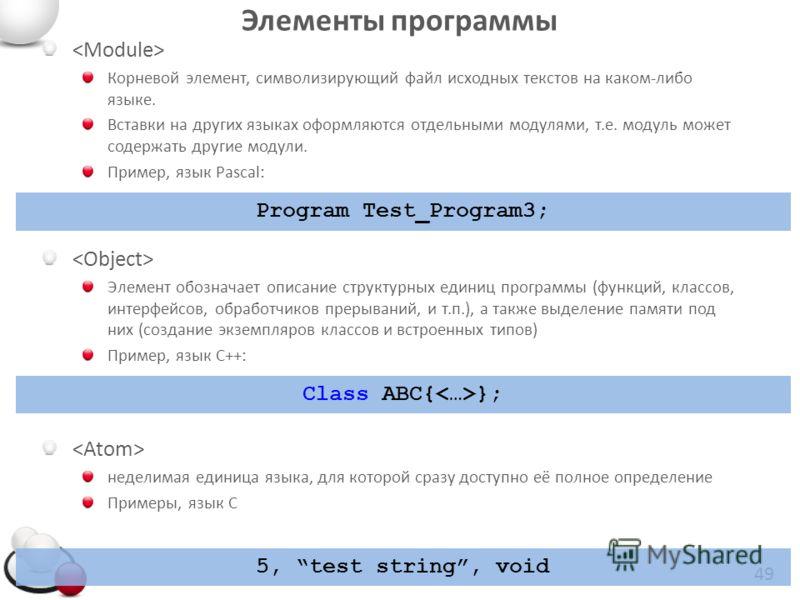 Элементы программы Корневой элемент, символизирующий файл исходных текстов на каком-либо языке. Вставки на других языках оформляются отдельными модулями, т.е. модуль может содержать другие модули. Пример, язык Pascal: Элемент обозначает описание стру