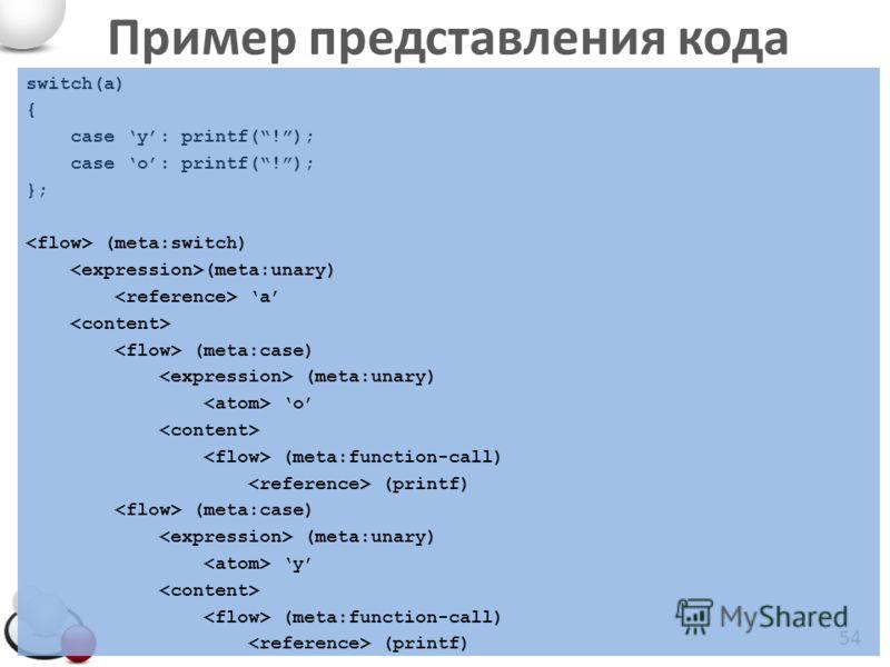 Пример представления кода 54 switch(a) { case y: printf(!); case o: printf(!); }; (meta:switch) (meta:unary) a (meta:case) (meta:unary) o (meta:function-call) (printf) (meta:case) (meta:unary) y (meta:function-call) (printf)
