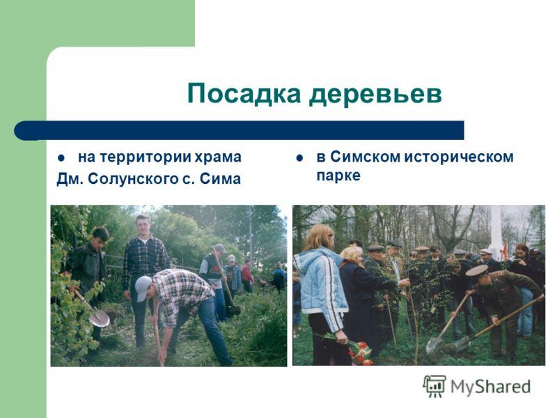 Посадка деревьев на территории храма Дм. Солунского с. Сима в Симском историческом парке