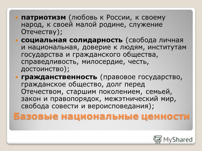 Базовые национальные ценности патриотизм (любовь к России, к своему народ, к своей малой родине, служение Отечеству); социальная солидарность (свобода личная и национальная, доверие к людям, институтам государства и гражданского общества, справедливо